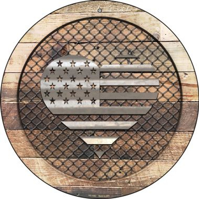 Corrugated American Flag Heart on Wood Novelty Small Metal Circular Sign UC-1062