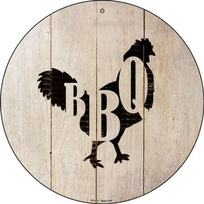 Chickens Make BBQ Novelty Small Metal Circular Sign UC-1072