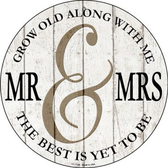 Mr and Mrs Novelty Small Metal Circular Sign UC-1129