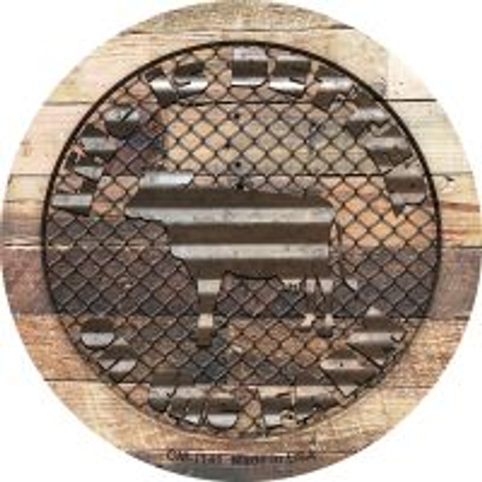 Better On The Farm Corrugated Cow Novelty Mini Metal Circle Magnet CM-1141