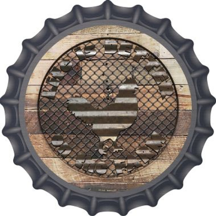 Better On The Farm Corrugated Chicken Novelty Metal Bottle Cap BC-1140