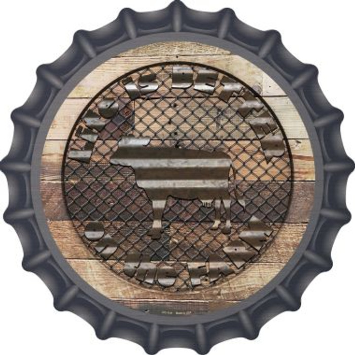 Better On The Farm Corrugated Cow Novelty Metal Bottle Cap BC-1141