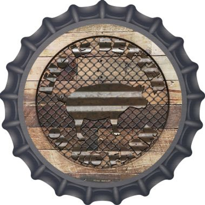 Better On The Farm Corrugated Pig Novelty Metal Bottle Cap BC-1142