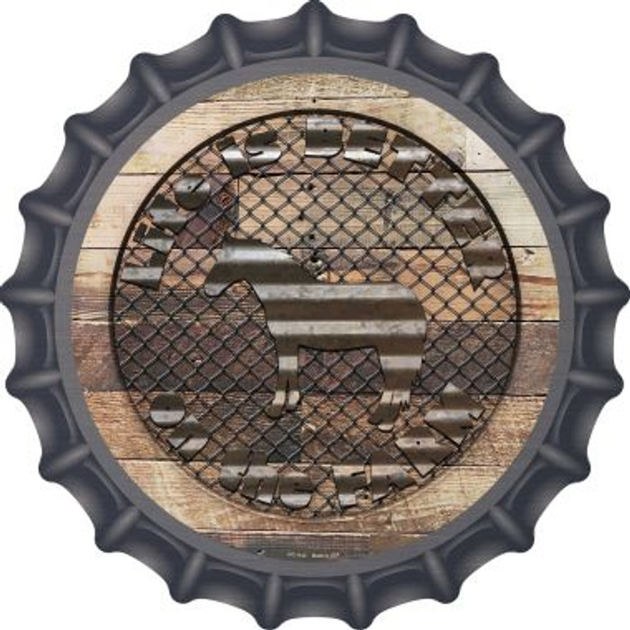 Better On The Farm Corrugated Horse Novelty Metal Bottle Cap BC-1143
