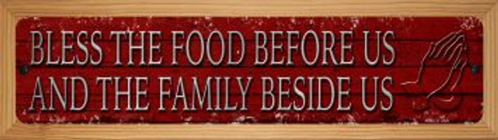 Bless The Food Before Us Novelty Wood Mounted Small Metal Street Sign WB-K-1434