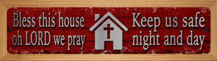 Bless This House Novelty Wood Mounted Small Metal Street Sign WB-K-1437