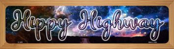 Hippy Highway Novelty Wood Mounted Small Metal Street Sign WB-K-1439