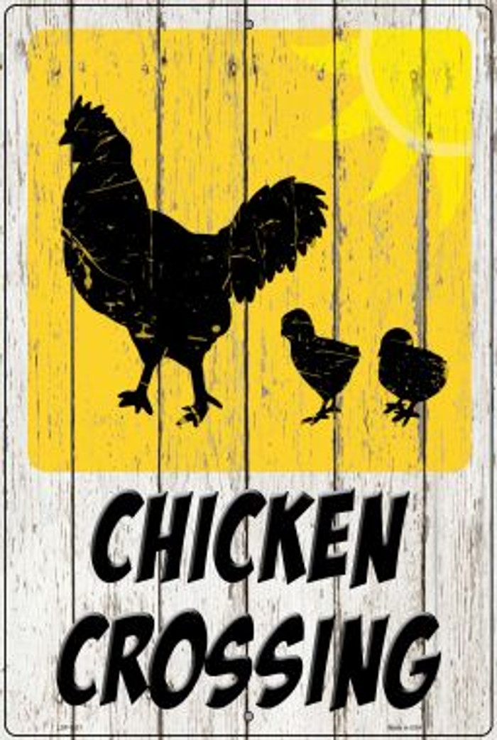 Chicken Crossing Novelty Metal Large Parking Sign LGP-2921