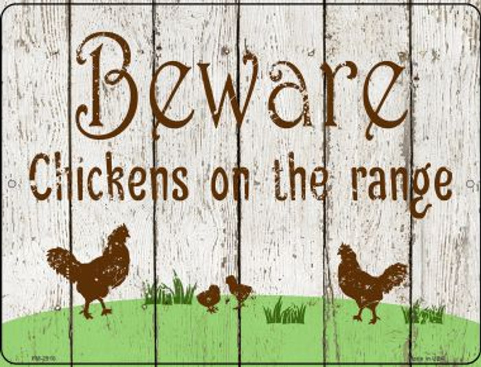 Beware of Chickens Novelty Mini Metal Parking SIgn PM-2916