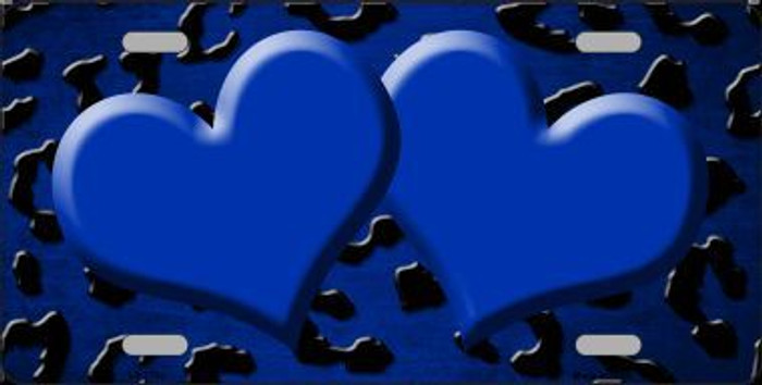 Blue Black Cheetah Hearts Print Oil Rubbed Metal Novelty License Plate