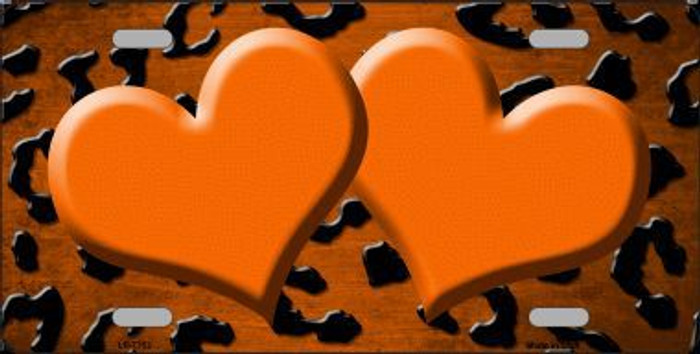 Orange Black Cheetah Hearts Print Oil Rubbed Metal Novelty License Plate