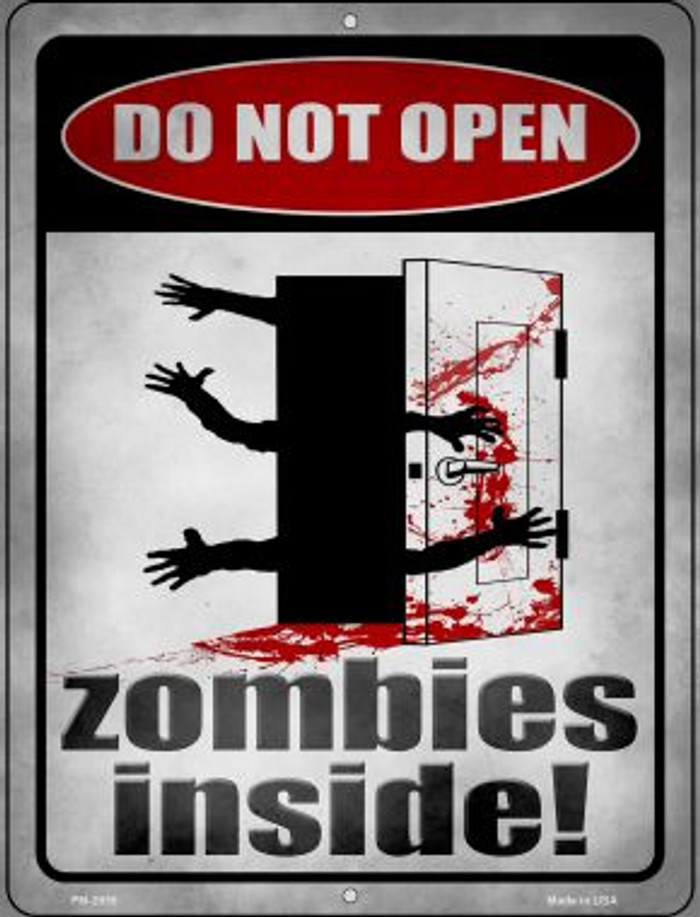 Zombies Inside Novelty Mini Metal Parking Sign PM-2955