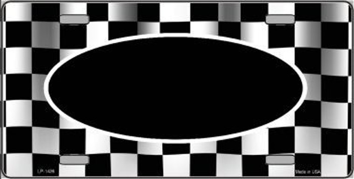 Pattern Waving Checkered Flag With Black Center Oval Metal Novelty License Plate