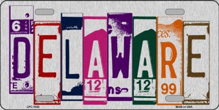 Delaware License Plate Art Brushed Aluminum Metal Novelty License Plate