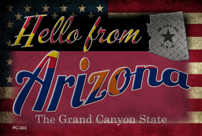 Hello From Arizona Novelty Metal Postcard PC-003