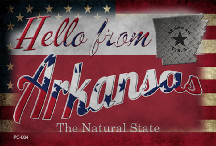 Hello From Arkansas Novelty Metal Postcard PC-004