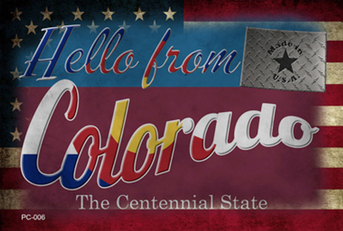Hello From Colorado Novelty Metal Postcard PC-006