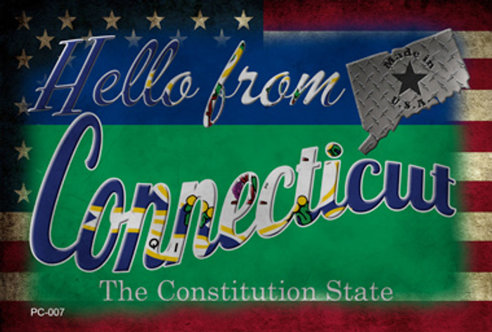 Hello From Connecticut Novelty Metal Postcard PC-007
