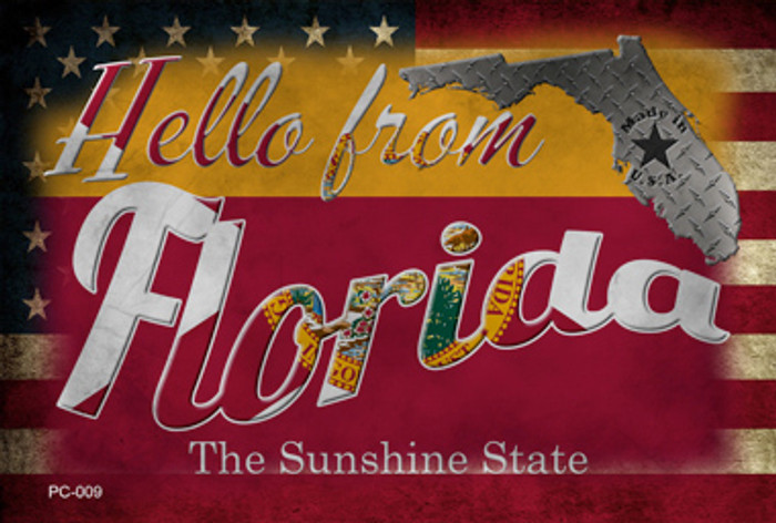 Hello From Florida Novelty Metal Postcard PC-009