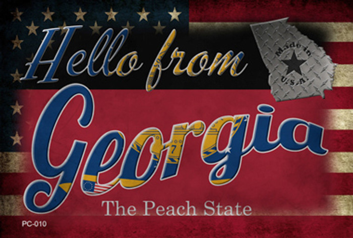 Hello From Georgia Novelty Metal Postcard PC-010