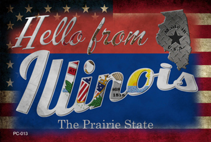 Hello From Illinois Novelty Metal Postcard PC-013