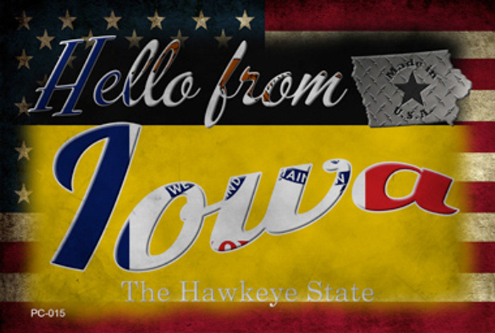 Hello From Iowa Novelty Metal Postcard PC-015