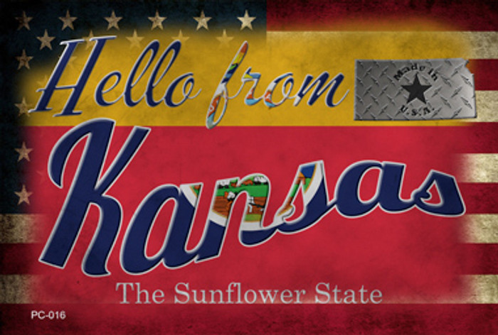 Hello From Kansas Novelty Metal Postcard PC-016