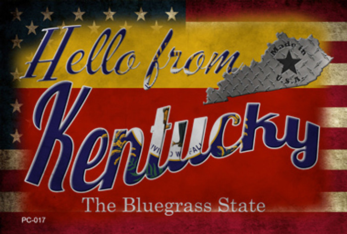 Hello From Kentucky Novelty Metal Postcard PC-017