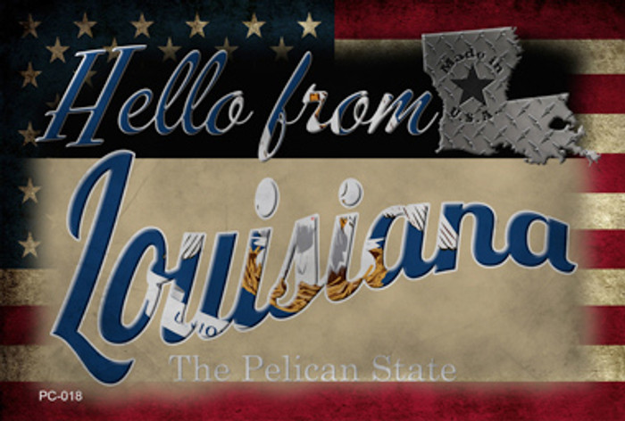 Hello From Louisiana Novelty Metal Postcard PC-018