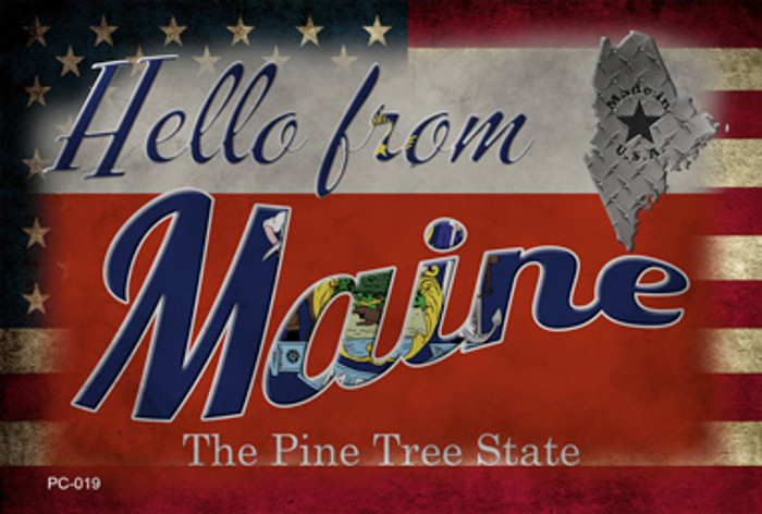 Hello From Maine Novelty Metal Postcard PC-019