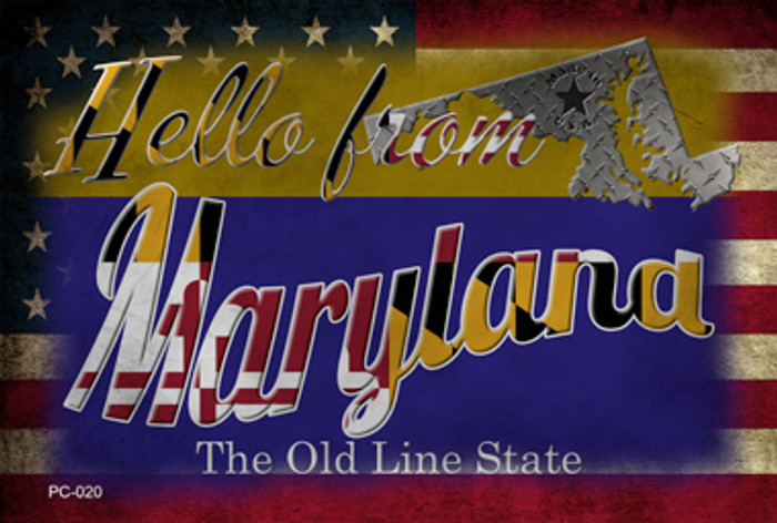 Hello From Maryland Novelty Metal Postcard PC-020