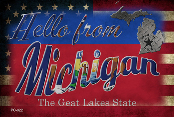 Hello From Michigan Novelty Metal Postcard PC-022