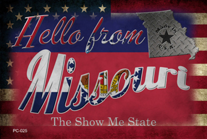 Hello From Missouri Novelty Metal Postcard PC-025