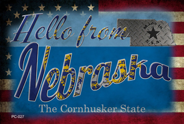 Hello From Nebraska Novelty Metal Postcard PC-027