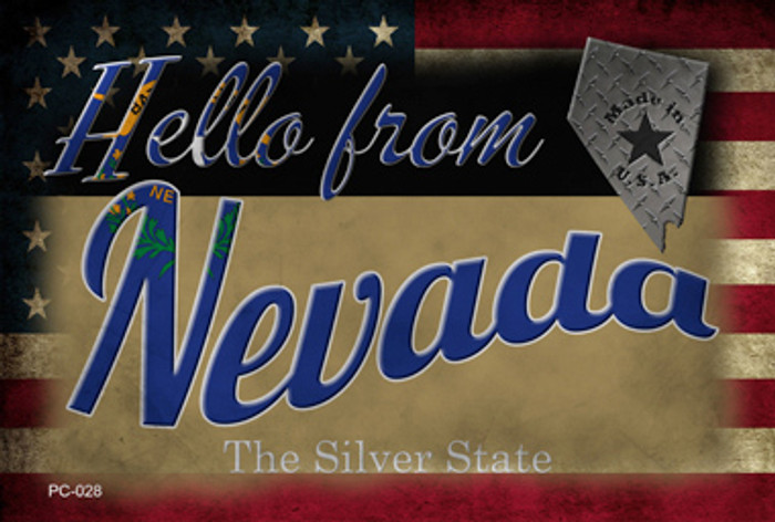 Hello From Nevada Novelty Metal Postcard PC-028