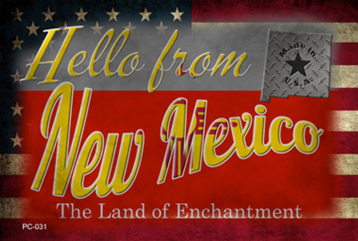 Hello From New Mexico Novelty Metal Postcard PC-031