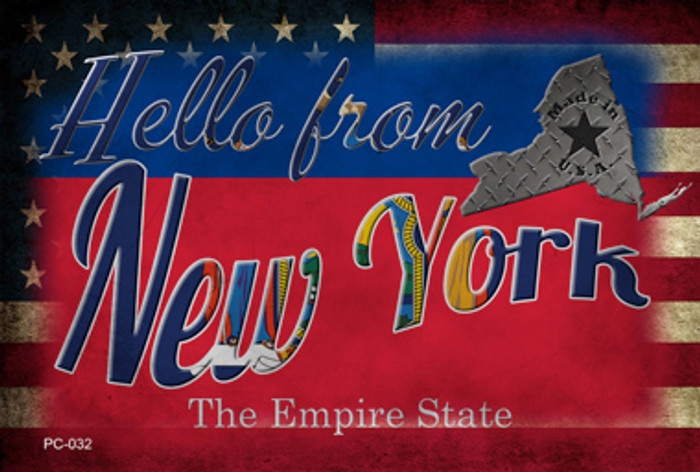 Hello From New York Novelty Metal Postcard PC-032