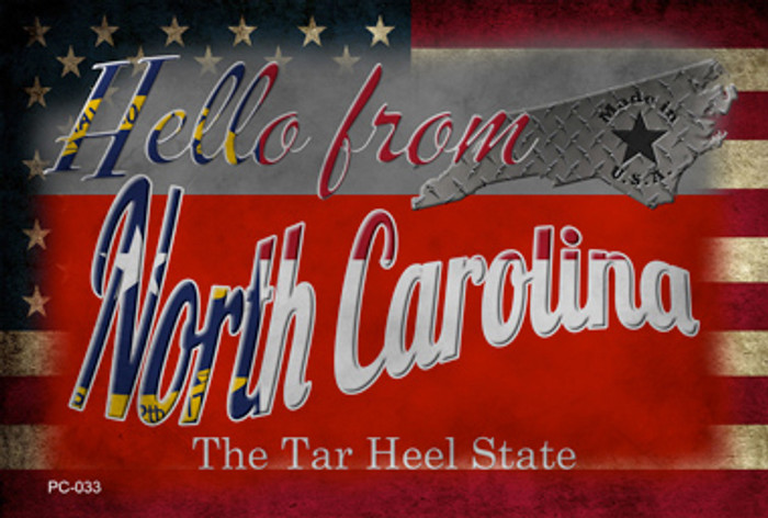 Hello From North Carolina Novelty Metal Postcard PC-033