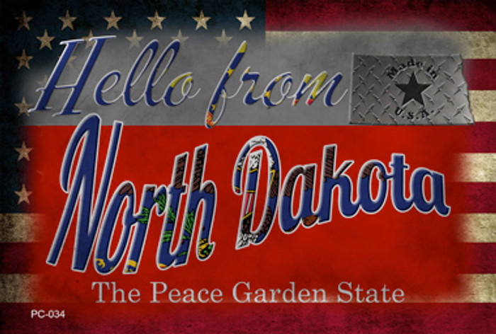 Hello From North Dakota Novelty Metal Postcard PC-034