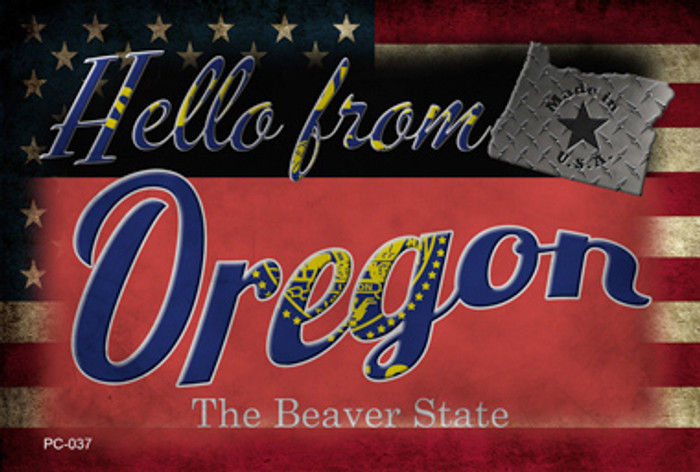 Hello From Oregon Novelty Metal Postcard PC-037