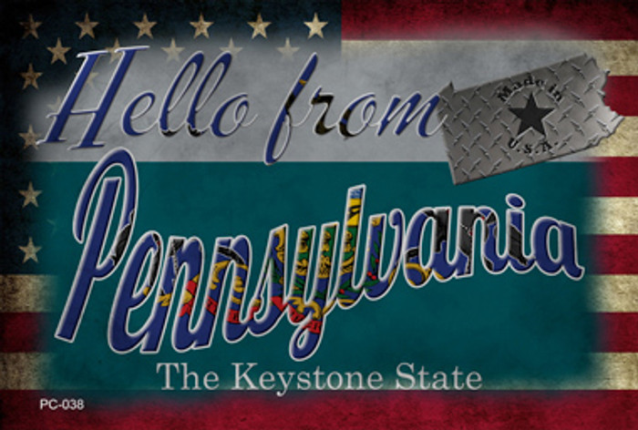 Hello From Pennsylvania Novelty Metal Postcard PC-038