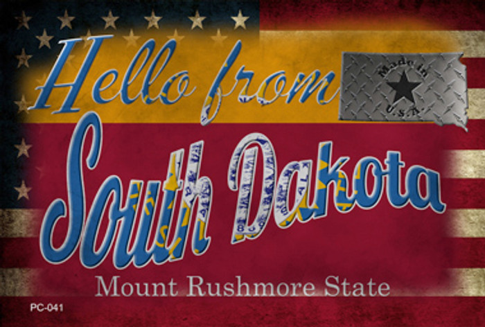 Hello From South Dakota Novelty Metal Postcard PC-041