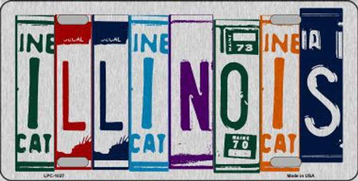 Illinois License Plate Art Brushed Aluminum Metal Novelty License Plate