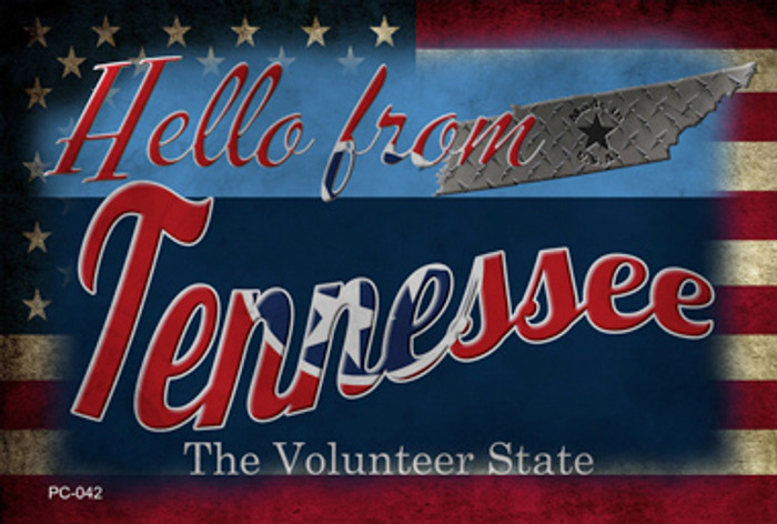 Hello From Tennessee Novelty Metal Postcard PC-042