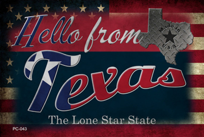 Hello From Texas Novelty Metal Postcard PC-043
