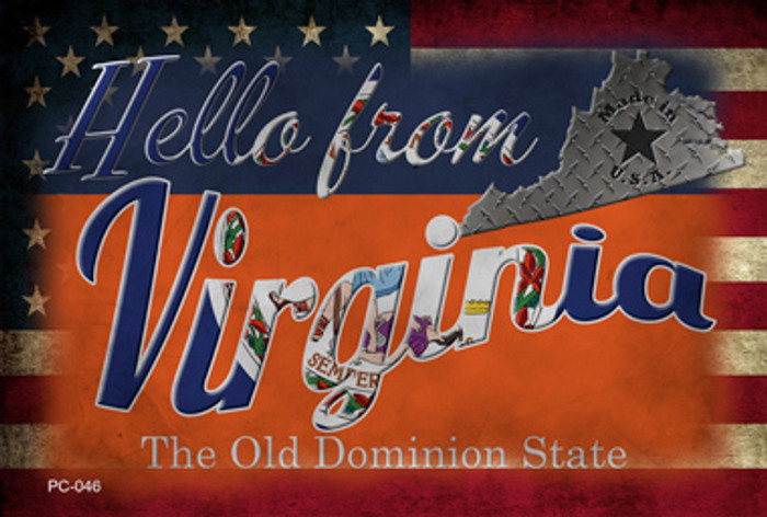 Hello From Virginia Novelty Metal Postcard PC-046