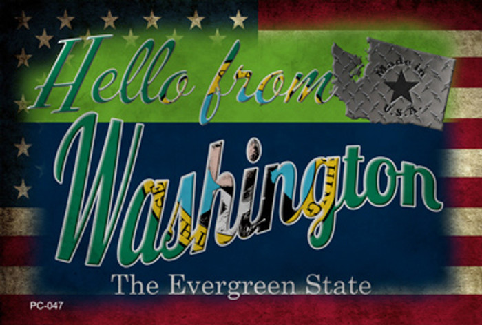 Hello From Washington Novelty Metal Postcard PC-047