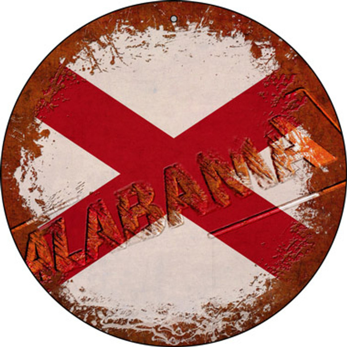 Alabama Rusty Stamped Novelty Metal Circular Sign C-1166