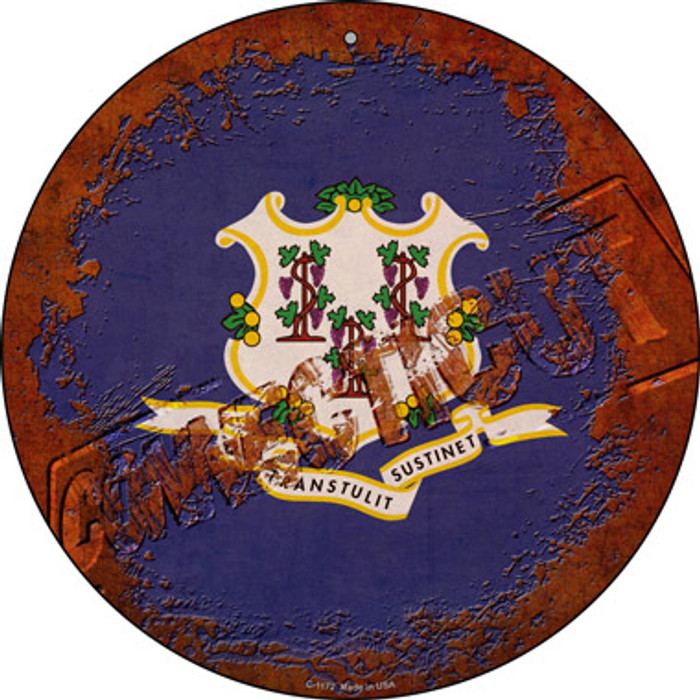 Connecticut Rusty Stamped Novelty Metal Circular Sign C-1172