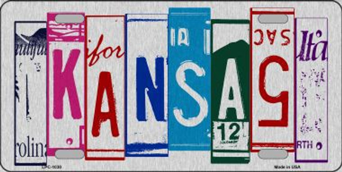Kansas License Plate Art Brushed Aluminum Metal Novelty License Plate
